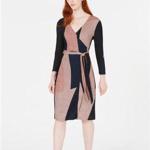 Bar III Womens Colorblocked Shine Knit Wrap Dress